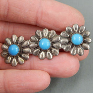 40's Mexico 925 sterling silver flower brooch pin